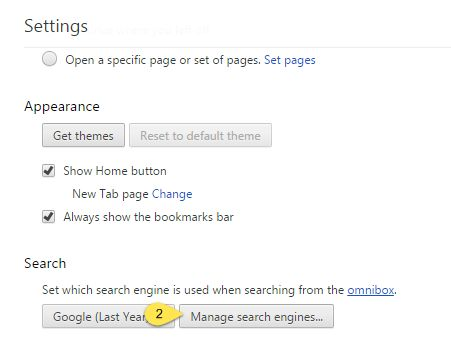 Manage search engines dialogue