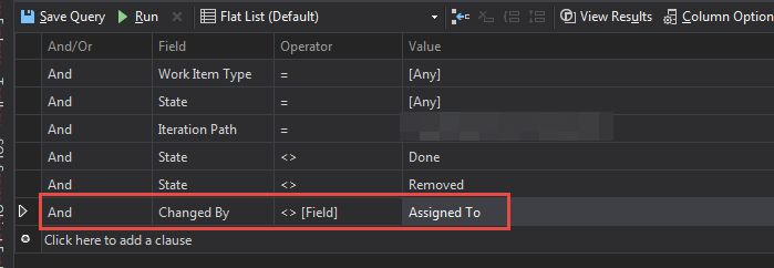 Filter setup for tfs query