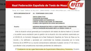 Dràstica decisió de la Federació Espanyola de Tennis Taula