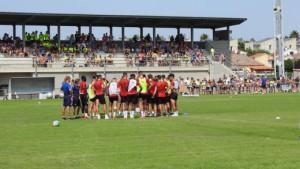 Entrenament de portes del Girona FC a l'Escala