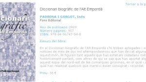 Edició actualitzada i digitalitzada del Diccionari Biogràfic de l'Alt Empordà