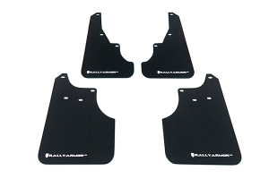 Rally Armor UR Mudflaps Black Urethane White Logo ( Part Number:  MF11-UR-BLK/WH)