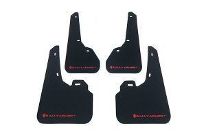 Rally Armor UR Mudflaps Black Urethane Red Logo ( Part Number:RAL MF17-UR-BLK/RD)