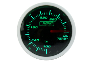 ProSport Oil Temperature Gauge Electronic w/Sender Green/White 52mm ( Part Number: 216BFWGOTSM.F)