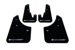 Rally Armor UR Mudflaps Black Urethane White Logo ( Part Number: MF9-UR-BLK/WH)