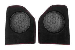 JPM Coachworks OEM Speaker Trim Black Alcantara Red Stitching ( Part Number: 1107A40-R)
