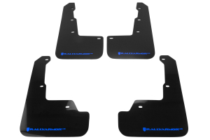 Rally Armor UR Mudflaps Black Urethane Blue Logo ( Part Number: MF32-UR-BLK/BL)