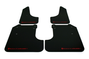 Rally Armor UR Mudflaps Black Urethane Red Logo ( Part Number: MF6-UR-BLK/RD)