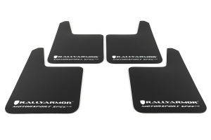Rally Armor Universal MSpec Mudflap Black Urethane White Logo ( Part Number: MF20-UR-BLK/WH)
