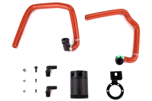 Mishimoto Baffled Oil Catch Can PCV Side Black w/ Red Hose ( Part Number: MMBCC-MUS4-15PRD)