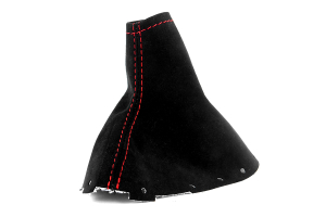 JPM Coachworks Shift Boot Black Alcantara Red Stitching ( Part Number: 1100A40-R)