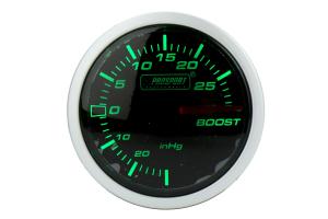 ProSport Boost Gauge Electrical w/ Sensor 52mm Green/White ( Part Number: 216BFWGEBOSM.PSI)
