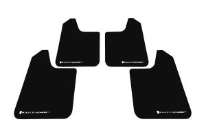 Rally Armor Universal UR Mudflaps Black Urethane White Logo ( Part Number:  MF12-UR-BLK/WH)
