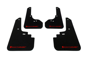 Rally Armor UR Mudflaps Black Urethane Red Logo ( Part Number: MF4-UR-BLK/RD)