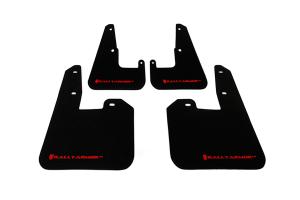 Rally Armor UR Mudflaps Black Urethane Red Logo V2 ( Part Number:RAL MF15-UR-BLK/RD)