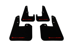 Rally Armor UR Mudflaps Black Urethane Red Logo V2 ( Part Number: MF15-UR-BLK/RD)
