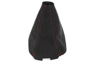 JPM Coachworks Shift Boot Black Alcantara Red Stitching ( Part Number: 1031A40-R)