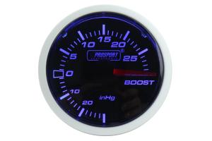 ProSport Boost Gauge Electrical w/Sender Blue/White 52mm ( Part Number: 216BFWBEBOSM.PSI)