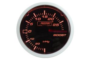 ProSport Boost Gauge Electrical w/Sender Amber/White 52mm ( Part Number: 216BFWAEBOSM.PSI)