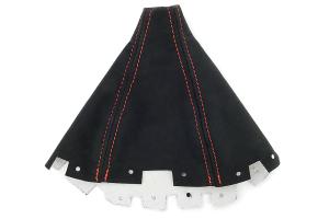 JPM Coachworks Shift Boot Black Alcantara Red Stitching ( Part Number: 1001A40-R)