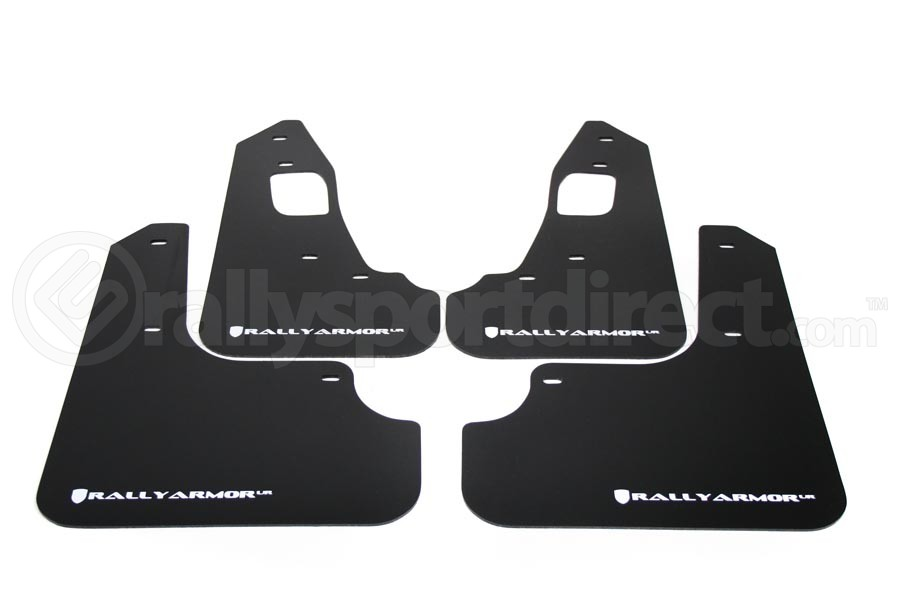 Rally Armor UR Mudflaps Black Urethane White Logo ( Part Number:RAL MF10-UR-BLK/WH)