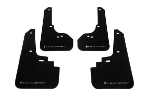 Rally Armor UR Mudflaps Black Urethane Silver Logo ( Part Number: MF4-UR-BLK/SIL)