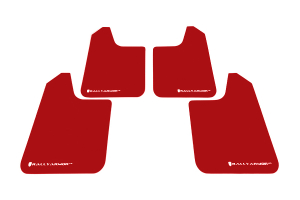 Rally Armor Universal UR Mudflaps Red Urethane White Logo  ( Part Number: MF12-UR-RD/WH)