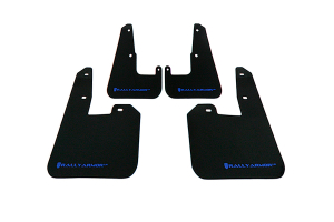 Rally Armor UR Mudflaps Black Urethane Blue Logo V2 ( Part Number: MF15-UR-BLK/BL)