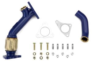 GrimmSpeed Ceramic Coated Blue 38/40mm V-Band External Wastegate Uppipe 3-Bolt  ( Part Number:GRM 007078)