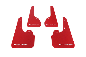 Rally Armor UR Mudflaps Red Urethane White Logo ( Part Number:RAL MF17-UR-RD/WH)