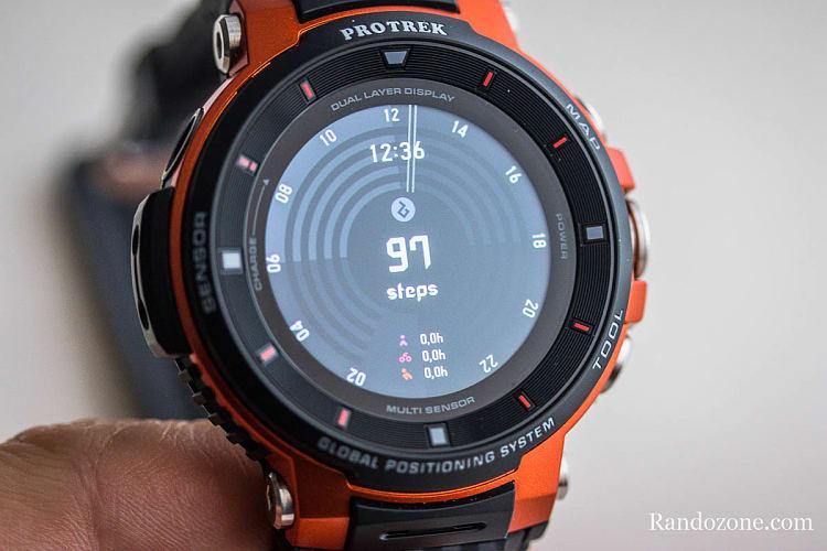 Compteur de pas sur la montre Casio Protrek F30