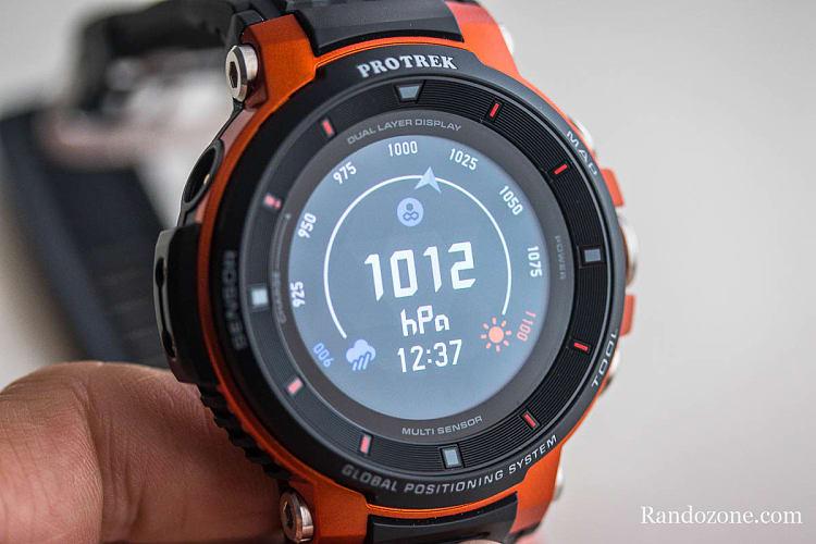 Baromètre sur la montre Casio Protrek F30