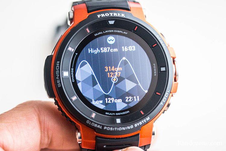 Horaires de marée sur la montre Casio Protrek F30