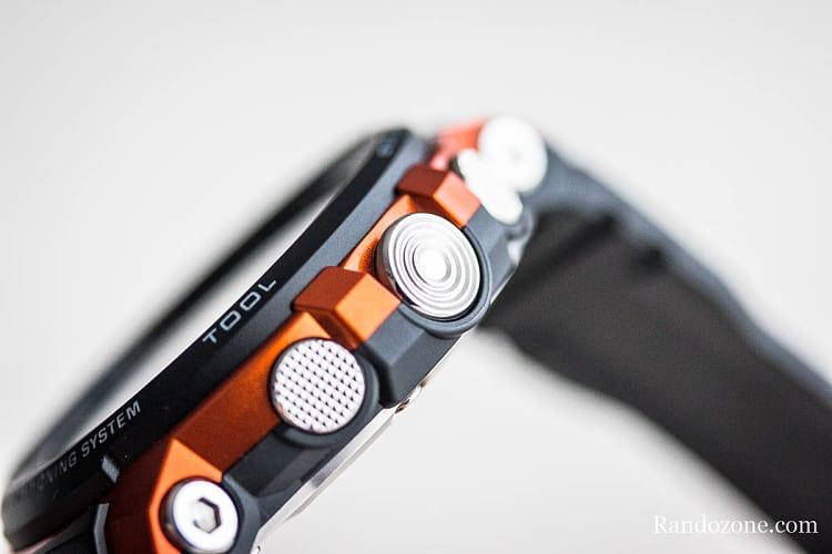 Les 3 boutons de la montre outdoor Casio Protrek F30