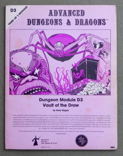 Vault of the Drow (Advanced Dungeons & Dragons Module D3) - PLAY COPY, Gary Gygax