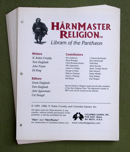 Harnmaster Religion - SHEETS ONLY