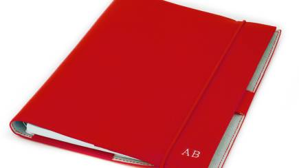 RedBalloon Red Personalised Leather Journal and Business Card Holder