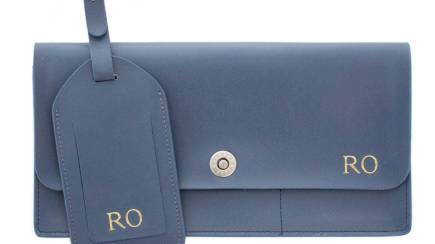 RedBalloon Navy Personalised Leather Travel Accessories Set