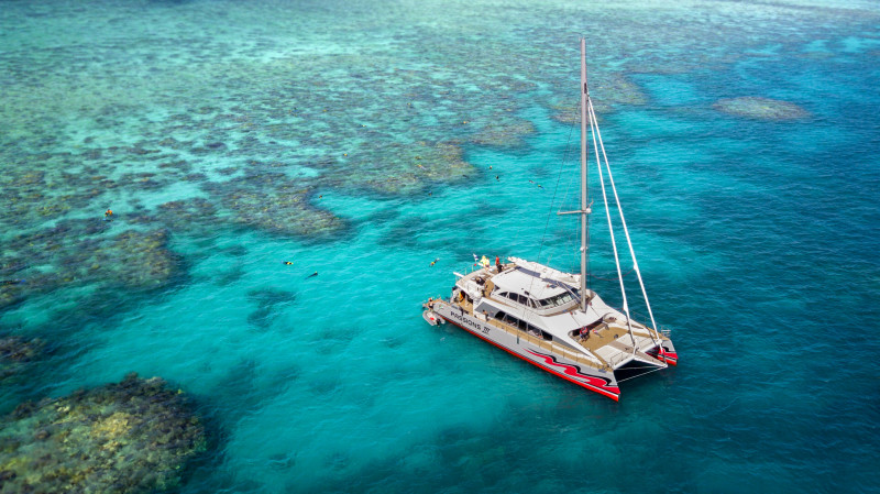 RedBalloon Catamaran Sailing, Reef Snorkel and Glass Bottom Boat Tour