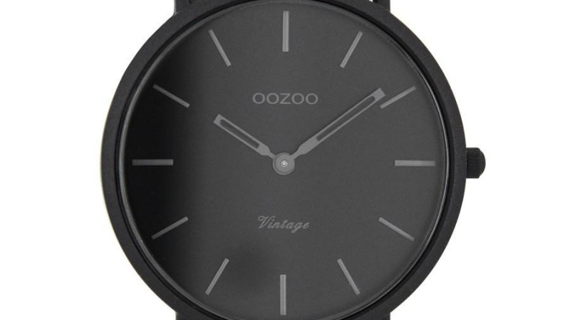 RedBalloon OOZOO C7733 - 44mm - Matte Black on Black Slimline Watch