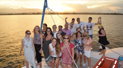 sail group on Gold Coast Broadwater at sunset