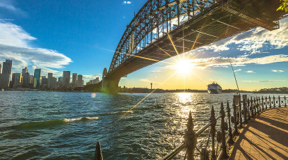 view of Sydney Harbour and skyline with harbour bridge