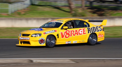v8 supercar on race track at sydney motorsport park