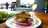 crispy pork belly mashed potato and glass white wine