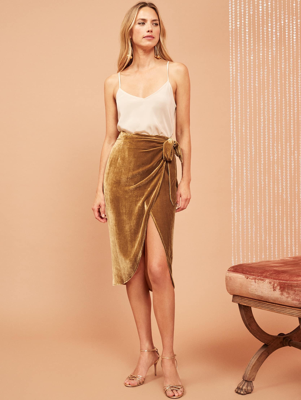 리포메이션 랩치마 Reformation Amberleigh Skirt,Gold