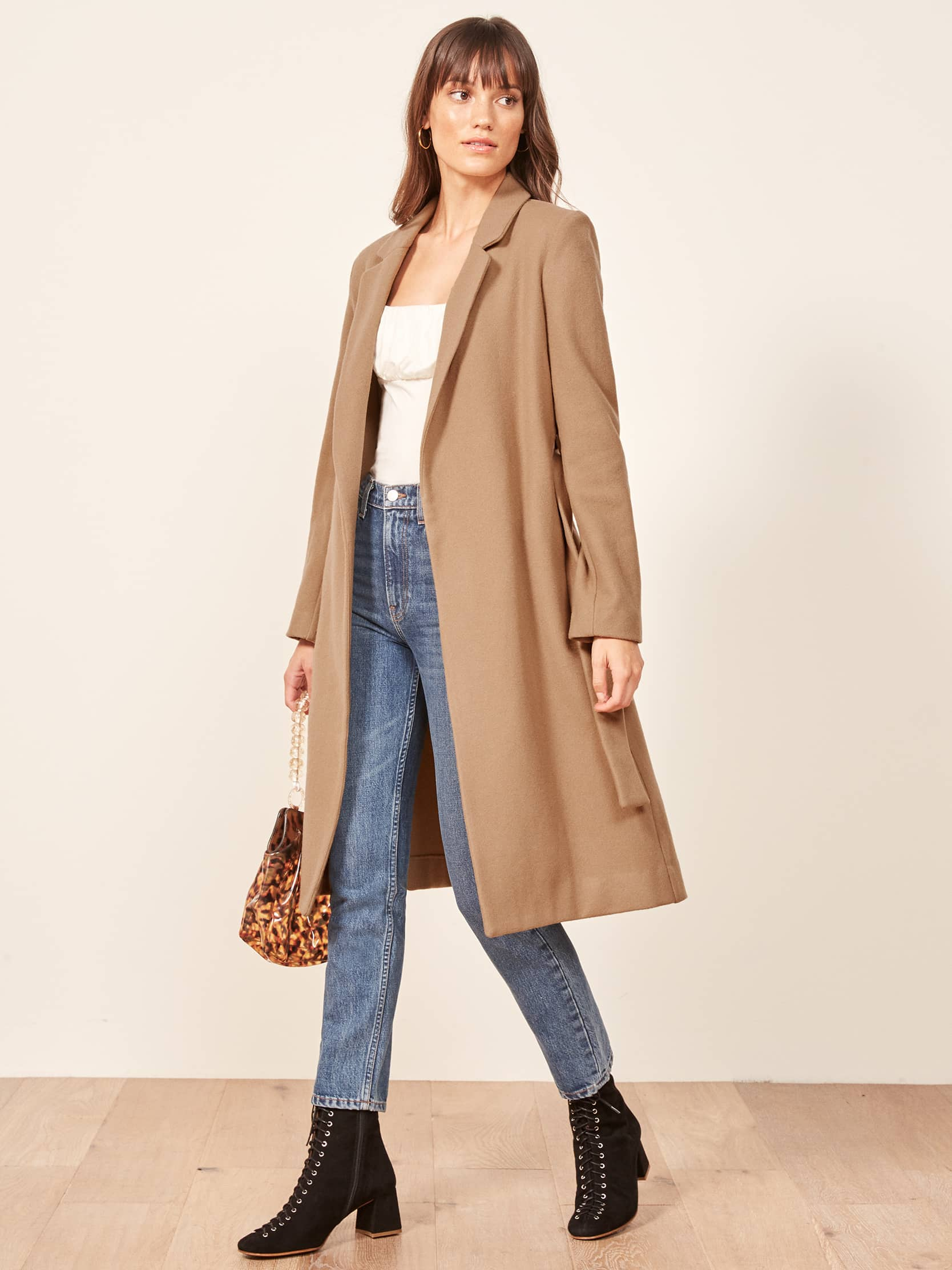 리포메이션 코트 Reformation Barton Coat,Camel