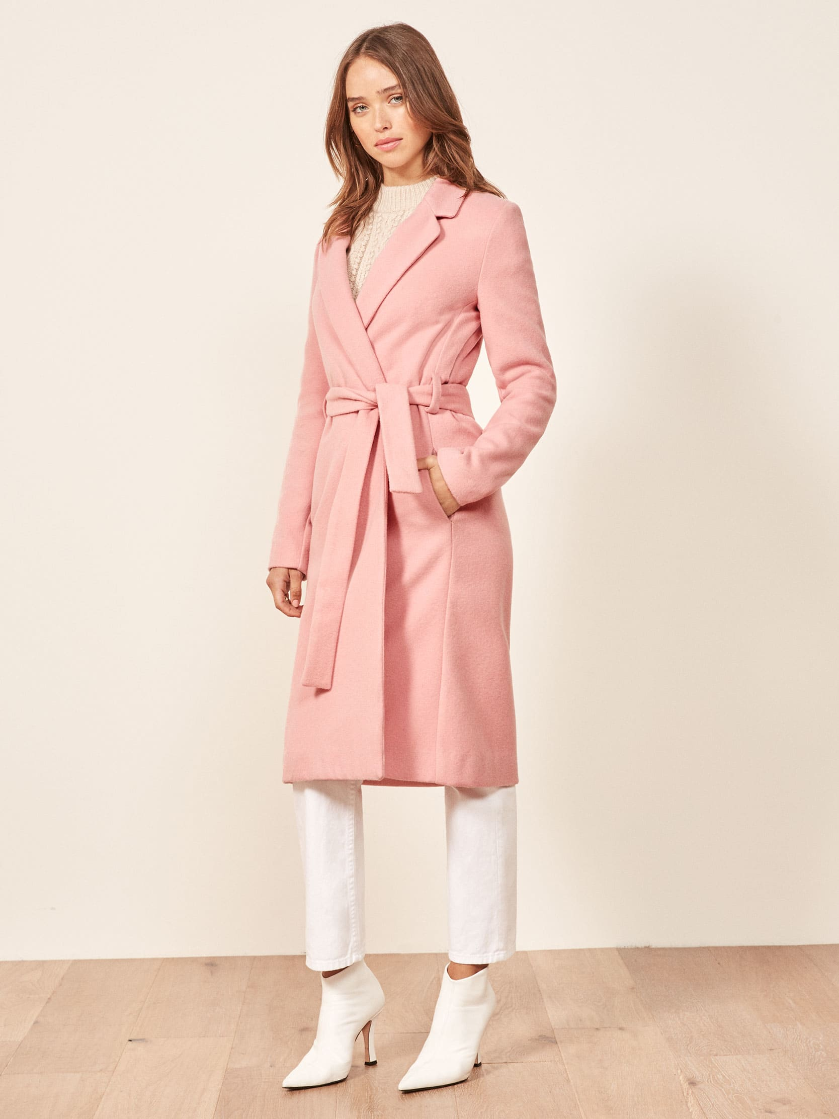 리포메이션 롱코트 Reformation Barton Coat,Rosy