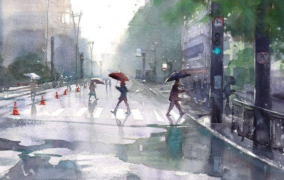 Paulista com chuva