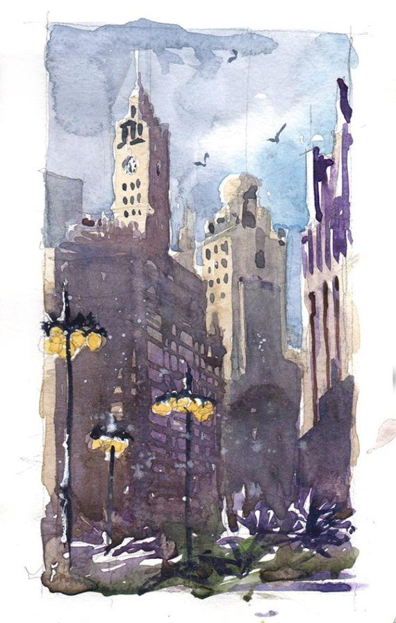 Sketch prédios Chicago