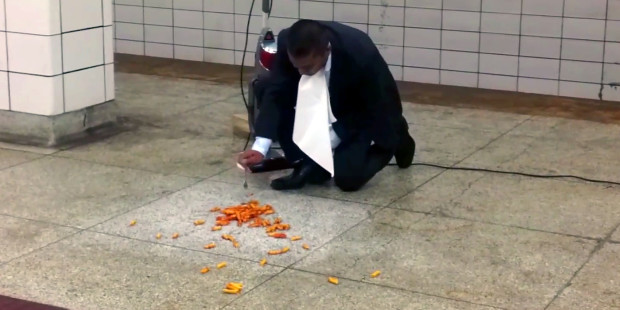 Would You Eat Off a Subway Platform? This Guy Did